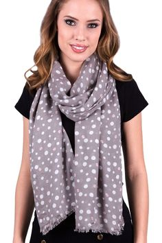 Women's Lady Bug Polka Dots Silky Soft Gray Fashion Scarf / Shawl / Wrap at Amazon Women's Clothing store: Fashion Scarves, polka dot gray shawl scarf, beetles lady bug print scarf