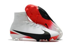 a21427182 Nike Mercurial Superfly V FG Mens Soccer Cleat - White Black Red Mens  Soccer Cleats
