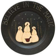 """Believe in the Magic Plate - Pressed wood oblong tray with distressed mustard yellow finish, stenciled berry vines and stars, and """"Amazing Grace"""" in center. Christmas Love, Country Christmas, Christmas Snowman, All Things Christmas, Christmas Ornaments, Snowman Tree, Christmas Plates, Christmas Ideas, Snowman Crafts"""