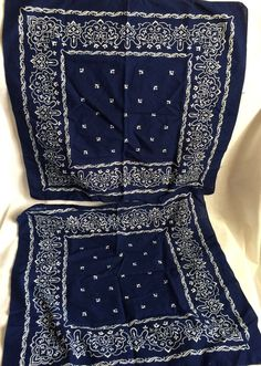 2 Vintage Blue & White Bandanas Handkerchief All Cotton Colorfast  #Unbranded #WesternBandana