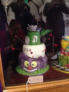 Mad Hatter Alice in Wonderland themed 3 tier cake