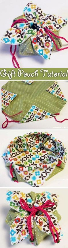 Little diy fabric gift pouch is an awesome way to give special gifts – it is the perfect size to gift some jewelry or other small items. Needs translation but the photos are enough to understand