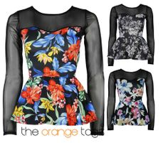 LADIES #FLORAL #SHEER #LONG SLEEVE #SKATER #TOP #WOMENS #FRILL #PEPLUM #FLARED #TOP #floralprint #fashion #outfit #summer