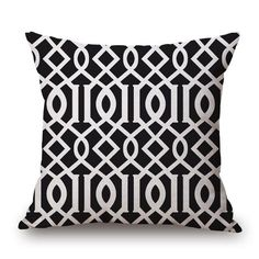 Black and White Simple Geometry Throw Pillow Covers