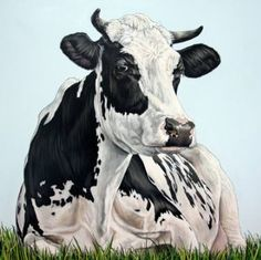 "Clara Bastian; Painting, ""Cow in the field"""