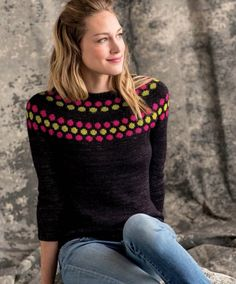 Sweetness Knit Pullover Sweater - Free Knitting Pattern - this jumper is so cute - the neckline looks like honeycomb~. Knitting Patterns Free, Knit Patterns, Free Knitting, Free Pattern, Jersey Jacquard, Knitting Daily, Fair Isle Knitting, Vintage Knitting, Bunt