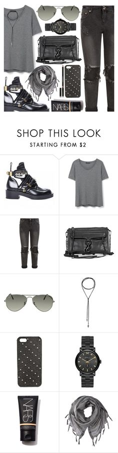 """All Dark"" by jomashop ❤ liked on Polyvore featuring MANGO, One Teaspoon, Ray-Ban, Marc by Marc Jacobs, Love Quotes Scarves, Givenchy and black"