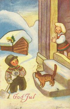 Julekort Gunvor Marie Holm. Katte på trammen. Utg Mittet Stemplet 42