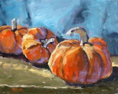 "Still Life Oil Painting of Fall and Halloween Pumpkins, ""I'm Thinkin' Pie"" 20 x 16"