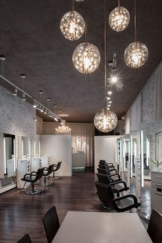 Love the hanging lights for the salon!