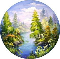 Singing landscapes of Russia Embroidery patterns DamaW - Ditta van Marle Seascape Paintings, Landscape Paintings, Circle Canvas, Bob Ross Paintings, Oil Painting Pictures, Clock Art, Marianne Design, Beautiful Paintings, Painting Inspiration