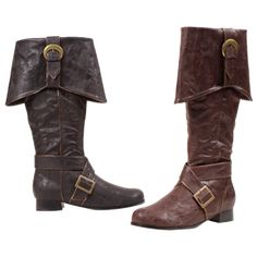 Complete your Pirate Costume with these authentic looking Pirate Boots for Men.FeaturesBlack Pirate boots with distressed leather look and gold buckle detail Made from a durable Polyurethane materi. Jack Sparrow Fantasia, Mens Pirate Boots, Brown Boots, Black Boots, Jack Sparrow Costume, Over Boots, Landsknecht, Cosplay Costume, Engineer Boots