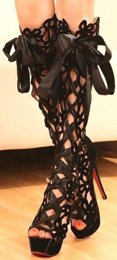 Goth Sexy Goth Fairy Black Floral Pattern High Heel Boots - Platform Boots