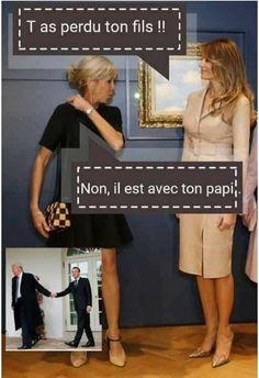 - Melania Trump : tu as perdu ton fils ? - Brigitte : non, il est avec ton papi. Funny Images, Funny Pictures, Yes Man, Image Fun, Prank Videos, Seriously Funny, Funny Gifts, Memes, Make Me Smile