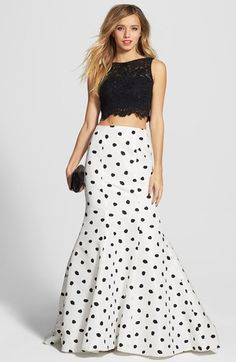 Sherri Hill Embellished Lace Crop Tank & Dotted Mermaid Skirt available at #Nordstrom