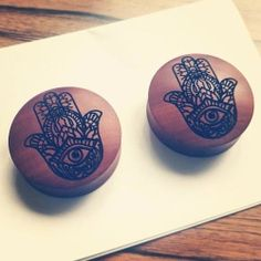 Hamsa plugs for available. Plugs Earrings, Gauges Plugs, Body Jewelry Piercing, Piercing Tattoo, Uk Custom Plugs, Wooden Plugs, Vintage Gypsy, Thing 1, Tunnels And Plugs