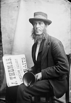 Town crier, Llanrwst by John Thomas c.1875, glass negative