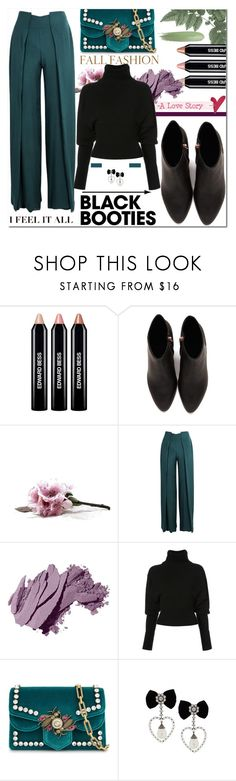 """Blackbooties on set"" by enwa ❤ liked on Polyvore featuring Edward Bess, Alexander Wang, Genny, Bobbi Brown Cosmetics, Creatures of the Wind, Gucci, blackbooties and polyvoreeditorial"