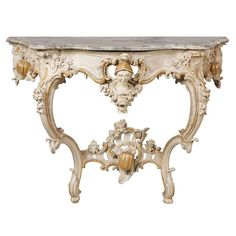 South German White Painted Rococo Mid 18th c. Console Table.