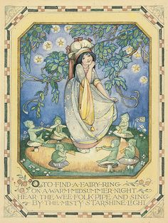 """Ethel Larcombe (1879-1965), """"O to find a fairy ring on a warm midsummer night..."""" 