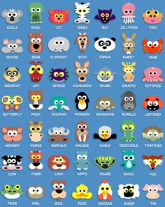 MASKS INSPIRATION: Koala, Snail, Cat, Zebra, Bat, Jellyfish, Fish, Mouse, Bear, Elephant, Goat, Panda, Rabbit, Crab, Meerkat, Ant, Spider, Kangaroo, Shark, Donkey, Octopus, Butterfly, Wolf, Dolphin, Penguin, Hedgehog, Gorilla, Ladybug, Monkey, Horse, Buffalo, Walrus, Eagle, Crocodile, Turtle, Cow, Tiger, Lion, Hippo, Snake, Rhino, Fox, Frog, Owl, Dog, Duck, Chicken, Sheep and Pig. (*Printable)