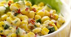 Flavorful ingredients, such as cilantro, lime juice and cumin, add Southwestern flair to corn salad. zesy corn and cucumber salad Food Dishes, Side Dishes, Main Dishes, Cocina Light, Cucumbers And Onions, Corn Salads, Savory Salads, Shawarma, Side Dish Recipes