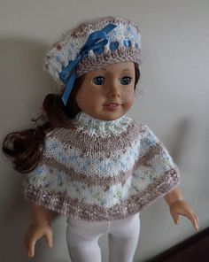 """American Girl Doll Clothes - Poncho and hat hand knitted with Bernat Baby Jacquards """"Macaroon"""" yarn. Also fits Gotz, Madame Alexander & similar 18"""" dolls."""