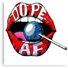 'Dope Lips ' Canvas Print by - Art Drawings Art Pop, Pop Art Drawing, Pop Art Lips, Figure Drawing, Lips Painting, Trippy Painting, Hippie Painting, Painting Art, Cute Canvas Paintings