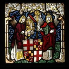 A glass panel portraying the arms of Hugo von Hohenlandenberg as Bishop of Constance with angel supporters, c.1500