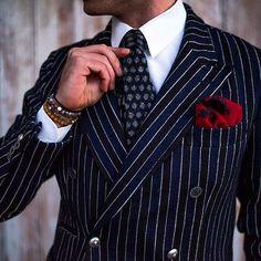 Men Navy Blue Stripe Suits Formal Double Breasted Blazer Jacket 2 Piece Suit is part of Suits - Men Navy Blue Stripe Suits Formal Double Breasted Blazer Jacket 2 Piece Men Classy Suits Men Fashion Suits Der Gentleman, Gentleman Style, Sharp Dressed Man, Well Dressed Men, Mens Fashion Suits, Mens Suits, Groom Fashion, Classy Suits, Designer Suits For Men