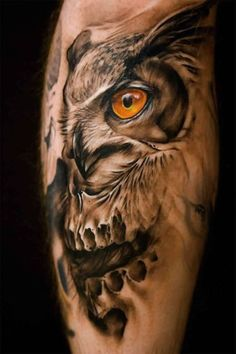 Inspiring image tattoo, tattoos, Tattoo Designs, tatuaże, tatuaże wzory by tattooamazing - Resolution - Find the image to your taste Owl Skull Tattoos, Arm Tattoos, Life Tattoos, Sleeve Tattoos, Tattoo Quotes For Men, Tattoos For Guys, Owl Tattoo Design, Tattoo Designs, Incredible Tattoos