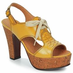 old-school yellow platform shoes #chie_mihara #shoes