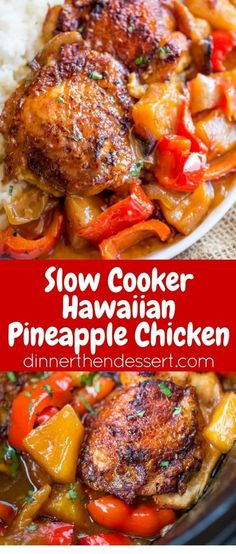 Slow Cooker Hawaiian Pineapple Chicken with crispy chicken thighs, fresh pineapp. Slow Cooker Hawaiian Pineapple Chicken with crispy chicken thighs, fresh pineapple chunks, onions and bell pepper takes 15 minutes of prep! Crock Pot Slow Cooker, Crock Pot Cooking, Cooking Recipes, Healthy Recipes, Crockpot Dishes, Cooking Tips, Fast Recipes, Slower Cooker Recipes Healthy, Simple Crock Pot Recipes