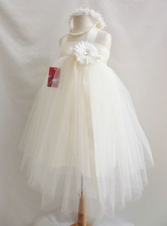 Ivory dancing tutu pageant recital princess wedding party gown flower girl dress