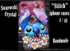 Stitch iphone cover 4 / 4S Swarovski Crystal bling case Handmade cover 4S skin