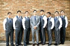 Wedding Groomsmen suits should be paid as much attention as bridesmaid dresses! We mean, they are your best friends, your brothers, the men that will see you get married even if you get cold feet! We have covered wedding attire groom related, but your groomsmen need their very own unique wedding tuxedos or suits or outfits that will make everyone know that those are the great men who will stand by your side while you go through the best day in your life and all those days to come! Groom And Groomsmen Suits, Tuxedo Wedding, Wedding Suits, Wedding Attire, Wedding Tuxedos, Navy Blue Groom, Costume, Wedding Styles, Wedding Outfits