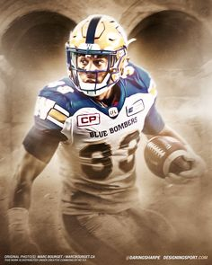 Andrew Harris, Winnipeg Blue Bombers (Photo: Marc... - Designing Sport Winnipeg Blue Bombers, Canadian Football League, Sports Art, Football Helmets, Photo S, Nfl, Wallpaper, Boys, Design