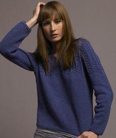 Katy, free pullover pattern from Rowan in Rowan Denim