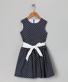Take a look at this Navy & White Polka Dot Dress - Girls by Plum Pudding on #zulily today!
