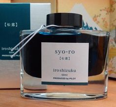 Iroshizuku Fountain Pen / Calligraphy Ink - Syo-ro which translates to Dew on Pine Tree. A high quality fountain pen ink. Greeny Blue Japanese Ink by Pilot
