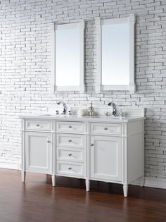 Contemporary 60 inch Double Sink Bathroom Vanity Cottage White Finish No Top