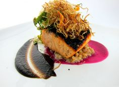 Scottish Salmon: toasted barley, burnt onion, red cabbage jus