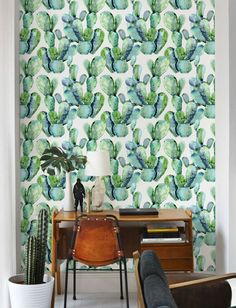 Watercolour Cactus Wallpaper/ Stunning Removable Wallpaper/ Self-adhesive Wallpaper / Cacti Pattern Wall Covering - 129