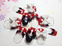 New fake nails Red Dotto and Ribbon Kitty Nails | MiCHi MALL