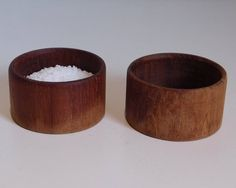 Mid century teak tea candle holders or salt pigs - set of two by SilverfernDK on Etsy