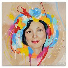Natasha. 24x24x1.6 mixed media portrait on wooden panel. Portrait, female, beautiful, feminine, commission, modern art, contemporary art, colorful, letter, home decor, interior design, Natalia Berglund.