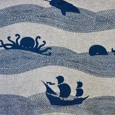 Nautical fabric design...I find this adorable. It reminds me of that scene in High Spirits where the stage set goes crazy.
