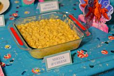 FOOD - Saw this a few places... Shells and Cheese (Mac & Cheese) for themed food.