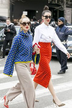 polka dots on sweaters and pencil skirts, red polka dot pencil skirt with a white button up