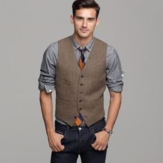 J.Crew - Harvest herringbone vest, grey chambray utility shirt, Alantic Old-school wide-stripe tie, 484 slim-fit jean in indigo rinse selvedge denim